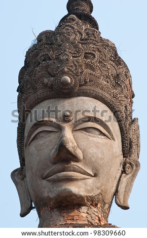 stucco ancient architecture in Sala Kaew Ku - Thai temple in hindu style, Nhongkhai Province Thailand - stock photo