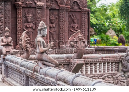 Stucco ancient. Stucco adorn ancient sanctuary. Huay Kaew temple in Lopburi, Thailand #1499611139