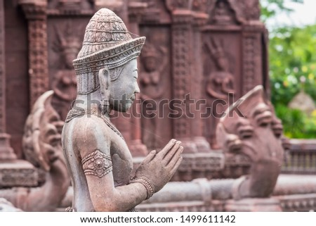 Stucco ancient. Stucco adorn ancient sanctuary. Huay Kaew temple in Lopburi, Thailand #1499611142