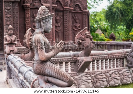 Stucco ancient. Stucco adorn ancient sanctuary. Huay Kaew temple in Lopburi, Thailand #1499611145
