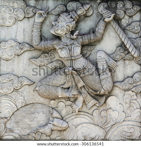 Stucco art in the temples of Thailand from the Ramayana\'s story. The ancient literature This architecture is a public art for everyone. Unlicensed