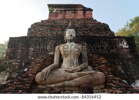 Stucco Buddha image in Sukhothai historical park, Thailand