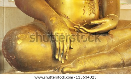Stucco Buddha image in Thailand, a Thai temple.