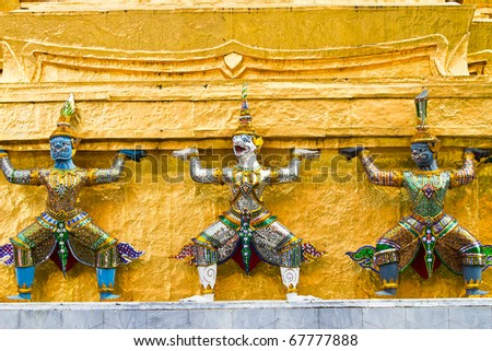 Stucco patterns on the walls around a temple in Thailand