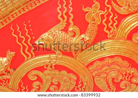 Stucco Thai art style in Lampangluang temple ,Lampang,Thailand.