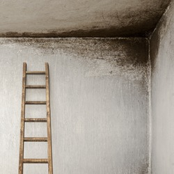 stucco wall with with wooden ladder, molded wall