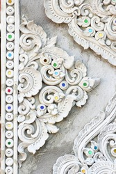 Stucco white sculpture decorative pattern wall design