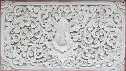 Stucco white sculpture decorative pattern wall design square format