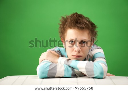 student and the problem - stock photo