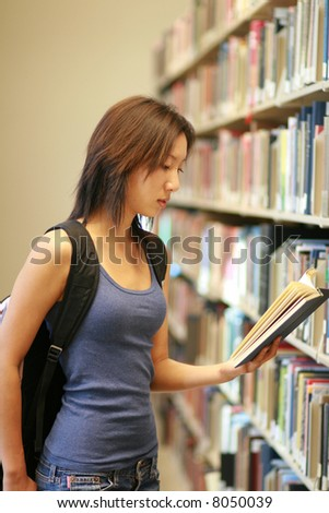student at the library