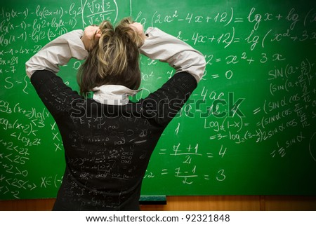 Student being examinated from math - stock photo