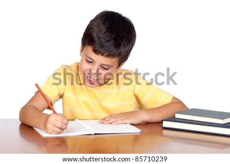 Student child in the school isolated over white background