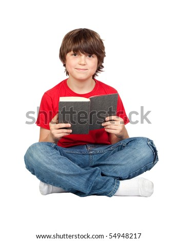 Student child with a book isolated over white background