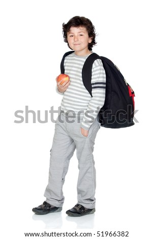 Student child with backpack and apple isolated on white background