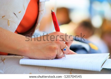 student, conference meeting, hand, pen, notebooks and writing
