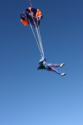 Student during parachute deployment sequence