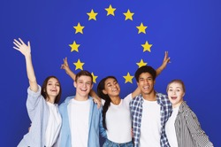 Student Exchange Programs In Eu. Happy Multiracial Teens Posing Over Europe Union Flag, Creative Collage