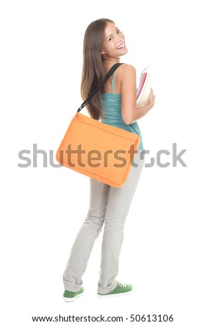 Student. Female college / university student standing with her back towards the camera turning her head smiling. Multiracial young woman model isolated on white background.