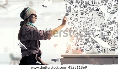Student girl draw strategy #432311869