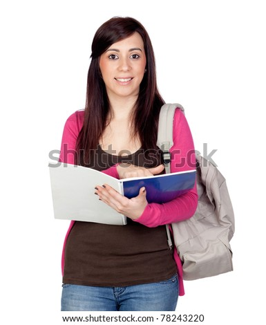 Student girl with a notebook isolated on a over white background - stock photo
