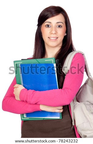 Student girl with backpack isolated on a over white background