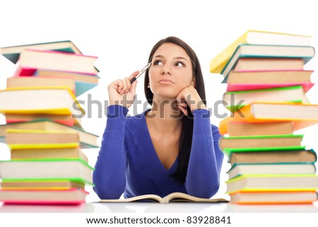 student girl with problems thinking, isolated on white background - stock photo