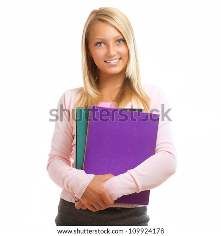 Student. Happy and Smiling Teenage High School Student Girl Isolated on a White Background - stock photo