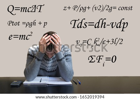 Student having difficulties studying physics and math. Exam failed. Math formulas in the background.