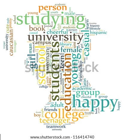 Student info-text graphics and arrangement concept (word cloud)