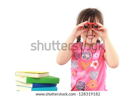 student little asian girl with binoculars