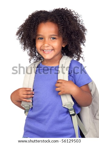 stock photo : Student little girl with beautiful hairstyle isolated over