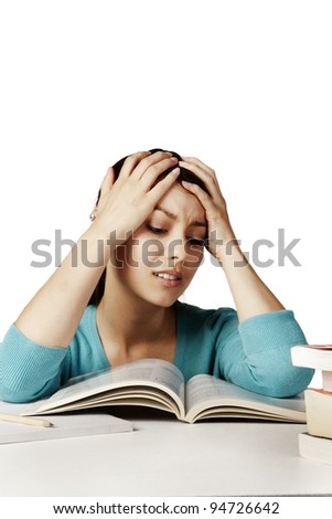 student looking at all her work and finding hard to do and understand