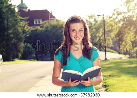 Student on campus - stock photo
