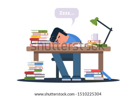 Student preparing for exams. Tired exhausted pupil cramming cartoon character. Teenager sleeping on table with books. Stacks of open textbooks. Guy drinking coffee and studying. Raster copy