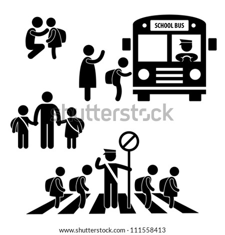 Student Pupil Children Back to School Bus Crossing Road Traffic Police Icon Symbol Sign Pictogram