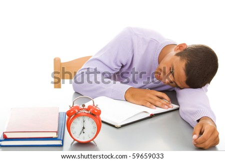 Student sleep on table