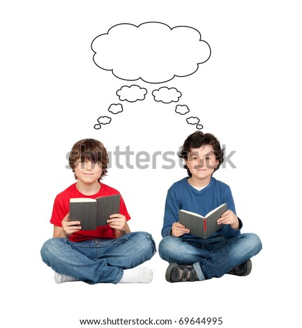 Student thinking with a book isolated over white background