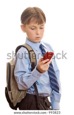 Student using a mobile phone. - stock photo