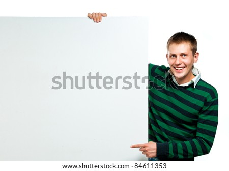 student with a white banner for your text box or text