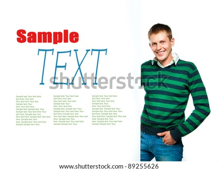 student with a white banner with sample text