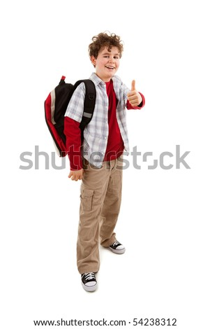 Student with backpack showing OK sign isolated on white