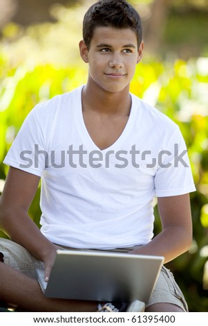 Student with backpack studying outside