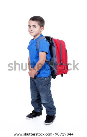 student with backpack toddler on white background