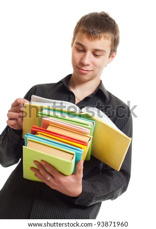 Student with books. White background