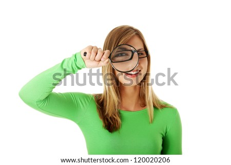 Student woman with magnifying glass isolated on white