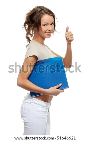 Student woman with note pad isolated on white background