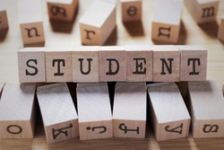 Student Word In Wooden Cube