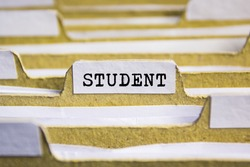 Student word on card index paper