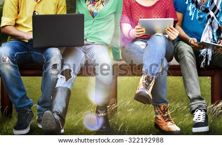 Students Education Social Media Laptop Tablet #322192988
