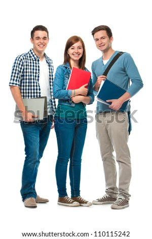 students/friends standing together on a white background